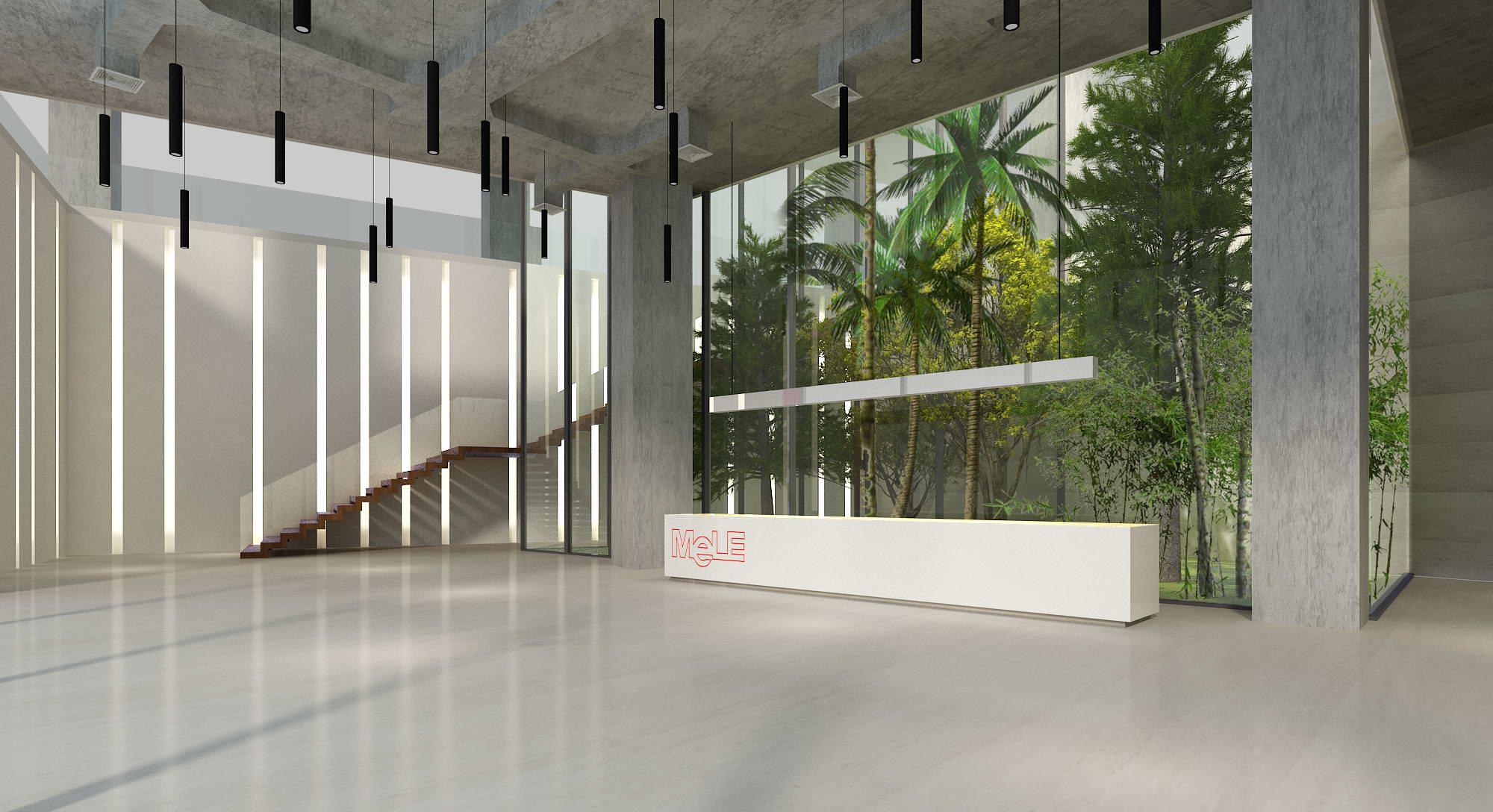 餐厅,空白休息区和入口处都相对工作大楼旋转了25度,以和西面边界平行